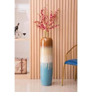 37.5 in. Multi-Color Cylinder Tricolor Drip Hand Painted Ceramic Handmade Floor Vase