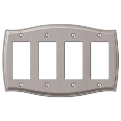 Vineyard 4 Gang Rocker Steel Wall Plate - Brushed Nickel