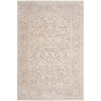 Reflection Beige/Cream 6 ft. x 9 ft. Floral Distressed Area Rug