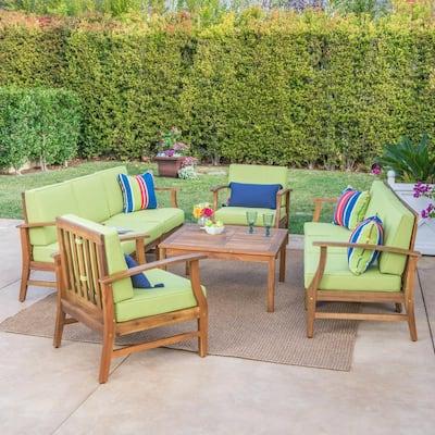 Perla Teak Finish 9-Piece Wood Outdoor Sofa with Green Cushions