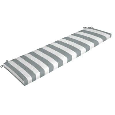 Rectangle Outdoor Bench Cushion in Stone Cabana Stripe