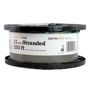 250 ft. 12/3 Black/White/Green Stranded CU THHN Wire