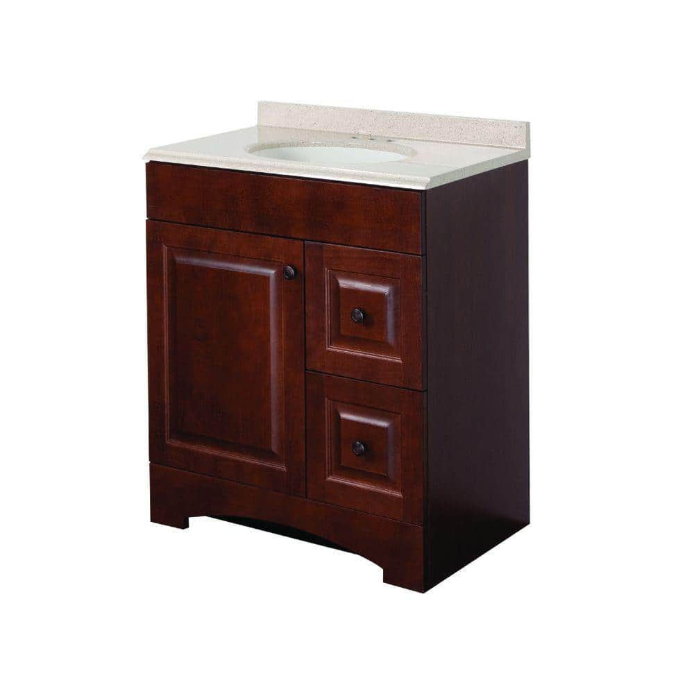 Glacier Bay Summit 30 In W X 19 In D Bathroom Vanity In Auburn With Colorpoint Vanity Top In Maui With White Sink Su30p2 Au The Home Depot