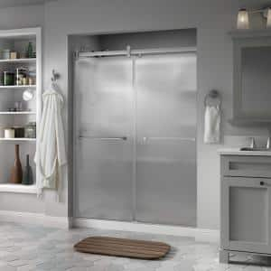 Everly 60 x 71 in. Frameless Contemporary Sliding Shower Door in Nickel with Rain Glass