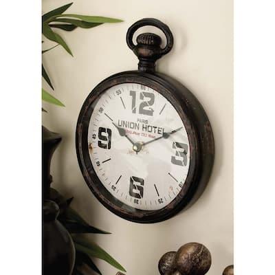 Brown Metal Vintage Wall Clock (Set of 2)