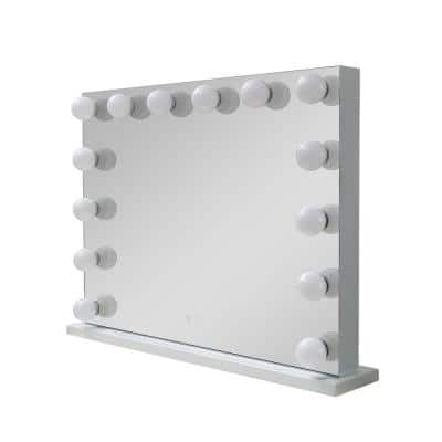 Freestanding 32 in. W x 24 in. H Single Rectangular Full Mirror Bubble Desktop Medicine Cabinet with Mirror in White
