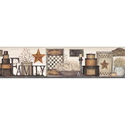 Country Keepsakes Family Shelf beige, taupe, black, brown, tan, red Wallpaper Border