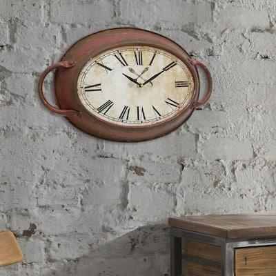 11 in. x 16.5 in. Metal Oval Wall Clock