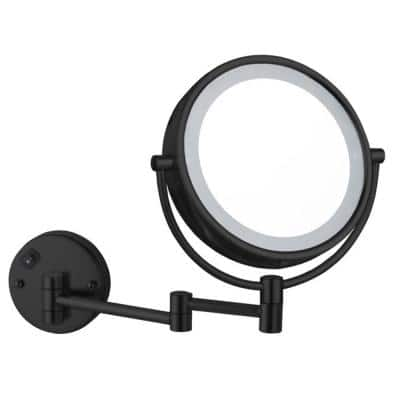 Glimmer 8 in. x 13.23 in. Wall Mounted LED 5x Round Mirror in Matte Black Finish