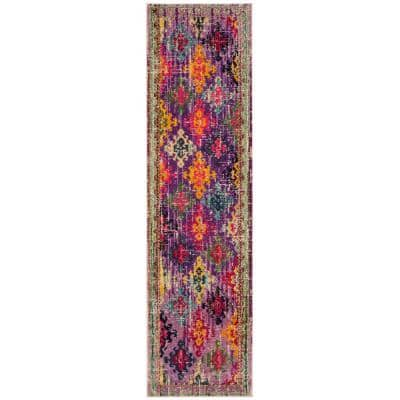 Monaco Purple/Multi 2 ft. 2 in. x 8 ft. Runner Rug