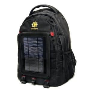 Black Ballistic Nylon Solar Lithium-Ion Battery Mobile Charger Backpack
