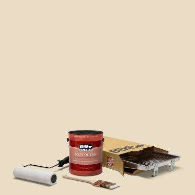 1 gal. #N290-2 Authentic Tan Ultra Extra Durable Flat Interior Paint and 5-Piece Wooster Set All-in-One Project Kit