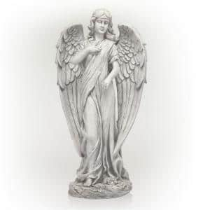 31 in. Tall Indoor/Outdoor Angel Statue Yard Art Decoration, Light Gray