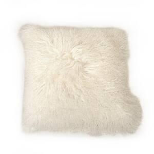 Tibetan White Lamb Fur Pouf