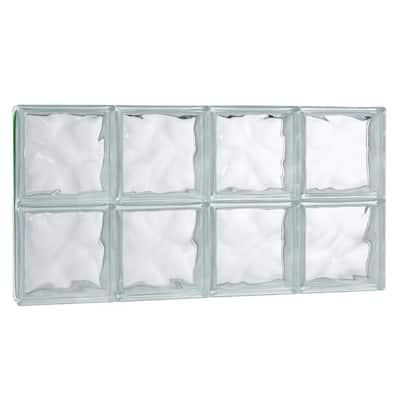 31 in. x 15.75 in. x 3.125 in. Wave Pattern Solid Glass Block Masonry Window
