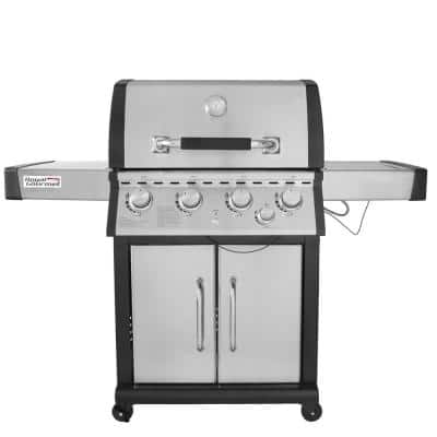 Deluxe 4-Burner Patio Propane Gas Grill in Stainless steel with Side Burner