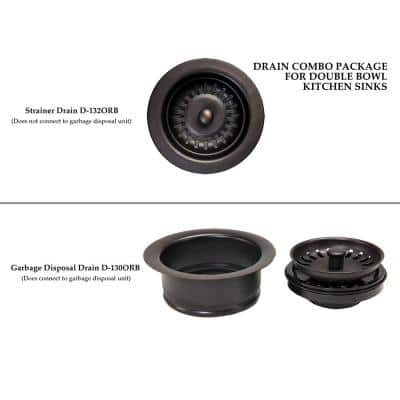 Drain Combination Package for Double Bowl Kitchen Sinks, Oil Rubbed Bronze