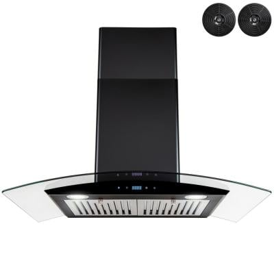 36 in. 217 CFM Convertible Wall Mount Range Hood with Tempered Glass and Carbon Filters in Black Painted Stainless Steel