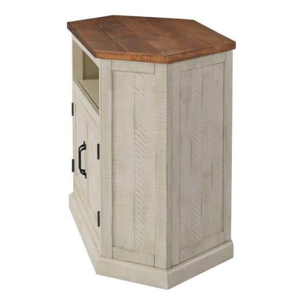 Benjara Rustic 49 5 In W Antique White And Brown Wooden Corner Tv Stand With 2 Door Cabinet Fits 55 In Tv Bm206000 The Home Depot
