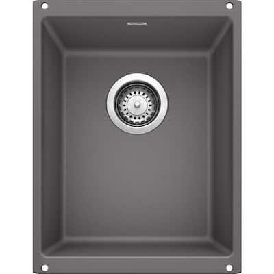 PRECIS SILGRANIT Slate Granite Composite 14 in. Undermount Bar Sink