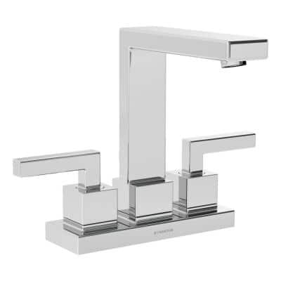 Duro 4 in. Centerset 2-Handle Bathroom Faucet with Drain Assembly in Polished Chrome