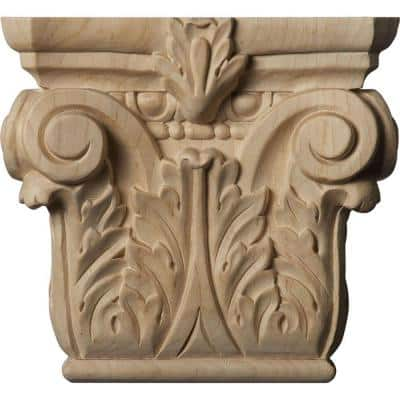 2-1/4 in. x 6-1/4 in. x 5-5/8 in. Unfinished Wood Cherry Small Floral Roman Corinthian Capital