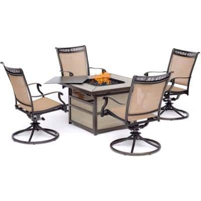 Fontana 5-Piece Aluminum Patio Conversation Set with 4 Sling Swivel Rockers and 40,000 BTU Gas Fire Pit Coffee Table
