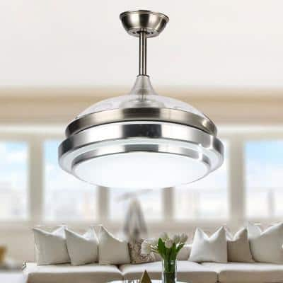 36 in. LED Brushed Nickel Retractable Ceiling Fan with Light Kit and Remote Control