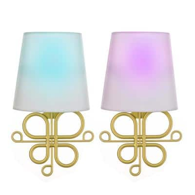Gold Battery Operated Wall Light Classic Integrated LED Sconce (2-Pack)