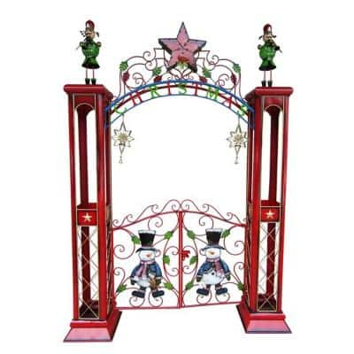 115 in. Christmas Gate with Arch and LED Lights