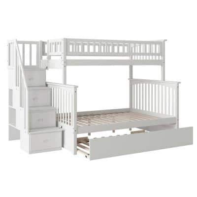 Columbia Staircase Bunk Bed Twin over Full with Full Size Urban Trundle Bed in White