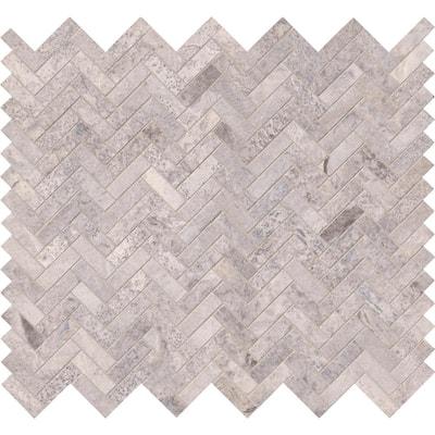 Silver Travertine Herringbone 12 in. x 12 in. x 10mm Honed Travertine Mesh-Mounted Mosaic Tile (10 sq. ft. / case)