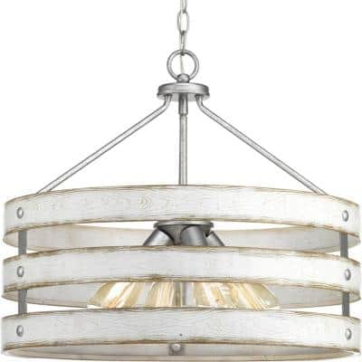 Gulliver Collection 21-3/4 in. 4-Light Galvanized Coastal Pendant with Antique White Wood Grain Pattern