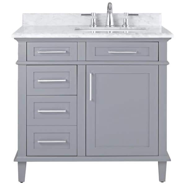 Home Decorators Collection Sonoma 36 In W X 22 In D Bath Vanity In Pebble Grey With Carrara Marble Top With White Sinks 8105100240 The Home Depot