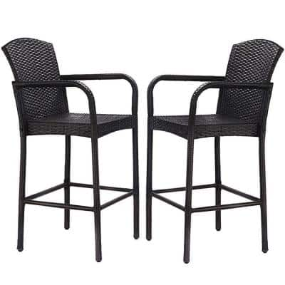 2-Piece 47 in. Wicker Outdoor Bar Stool with Armrests Dining High Counter Chair Patio Furniture Mix Brown