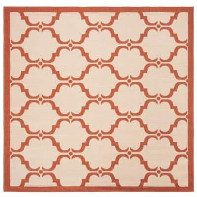 Courtyard Beige/Terracotta 5 ft. x 5 ft. Indoor/Outdoor Square Area Rug