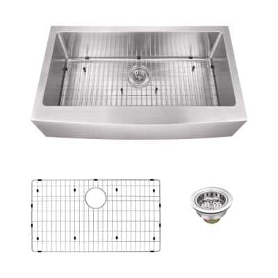 Farmhouse Apron Front Undermount 16-Gauge Stainless Steel 36 in. Single Bowl Kitchen Sink with Grid and Drain Assembly