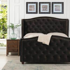 Marcella Upholstered Shelter Headboard Bed Set, Queen, Seal Brown Performance Velvet