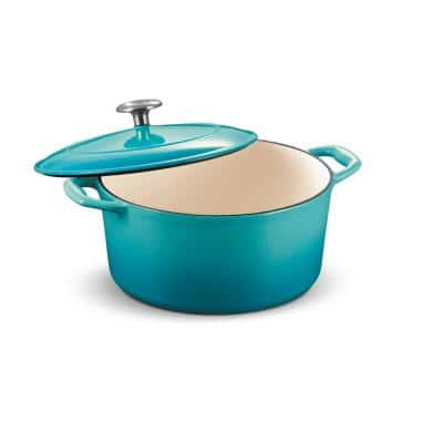 Gourmet 5.5 qt. Round Enameled Cast Iron Dutch Oven in Medium Blue with Lid