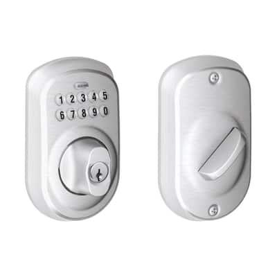 Plymouth Satin Chrome Keypad Electronic Door Lock Deadbolt