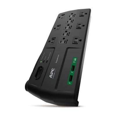 Black SurgeArrest 8-ft Surge Protector with 11 outlets, 2 USB charging ports