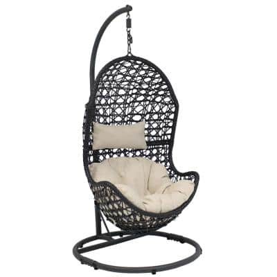 Cordelia Wicker Outdoor Hanging Egg Patio Lounge Chair with Stand and Beige Cushions