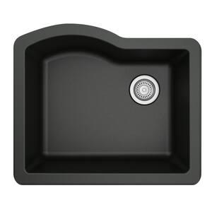 Undermount Quartz Composite 24 in. Single Bowl Kitchen Sink in Black