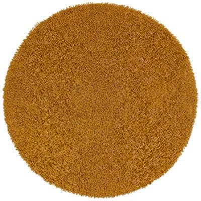 Gold Shag Chenille Twist 5 ft. x 5 ft. Round Area Rug