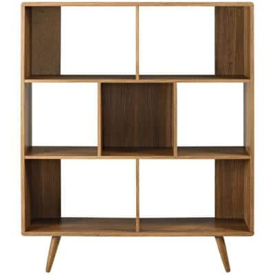 52.5 in. Walnut Wood 7-shelf Accent Bookcase with Open Back