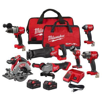 M18 FUEL 18-Volt Lithium-Ion Brushless Cordless Combo Kit with Two 5.0 Ah Batteries, 1 Charger, 2 Tool Bags (7-Tool)