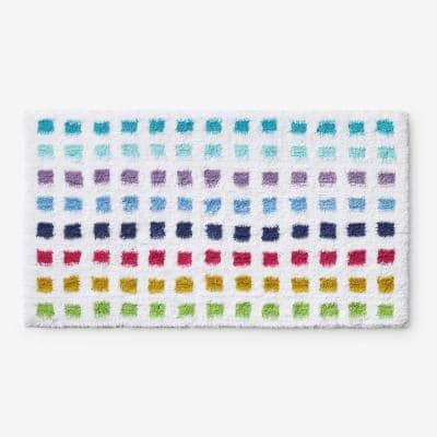 Spectrum White 34 in. x 21 in. Polka Dot Bath Rug