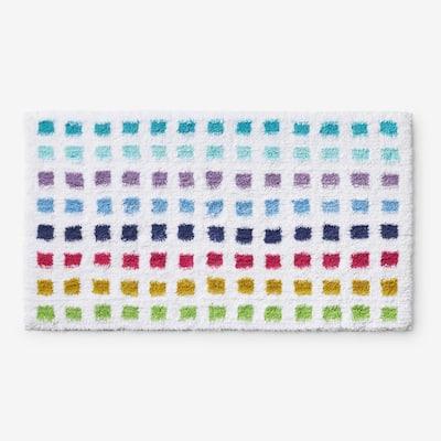 Spectrum White 40 in. x 24 in. Polka Dot Bath Rug