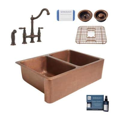 Rockwell All-in-One Copper Sink 33 in. Double Bowl 50/50 Farmhouse Apron Kitchen Sink with Faucet and Drains