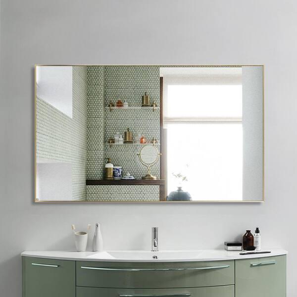 Neu Type 59 In X 39 In Large Modern Rectangle Metal Framed Bathroom Vanity Mirror Jj00941zze The Home Depot